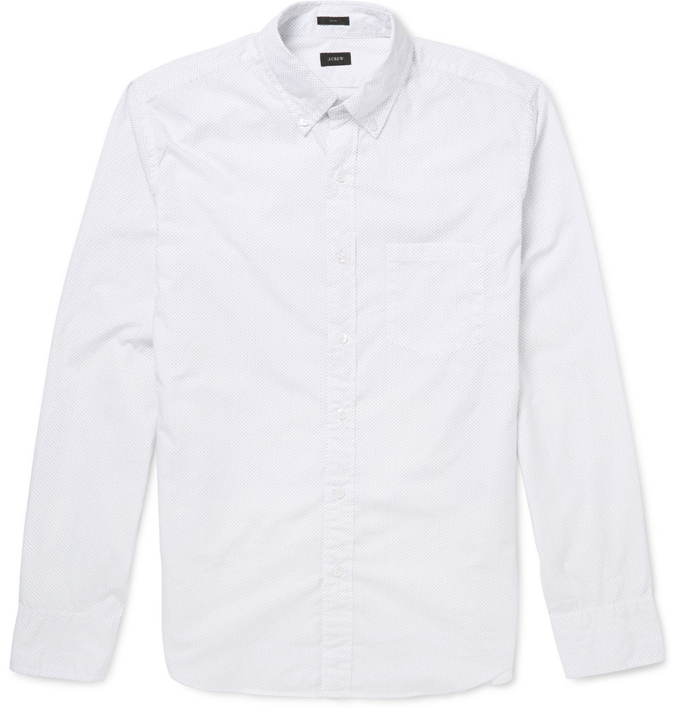 Pin Dot Button Down Collar Cotton Shirt In White