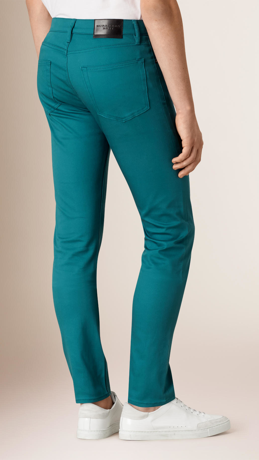 Burberry Slim Fit Japanese Stretch Denim Jeans Teal in Green for Men