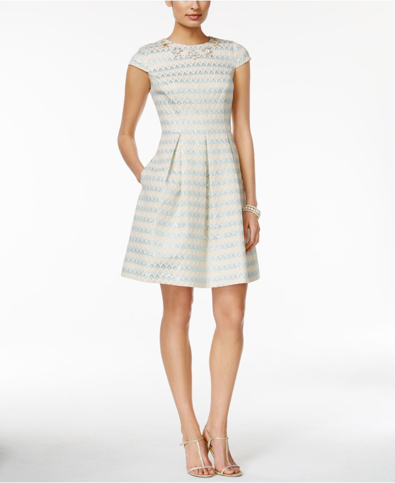 Vince Camuto Striped Jacquard Fit Amp Flare Dress Lyst