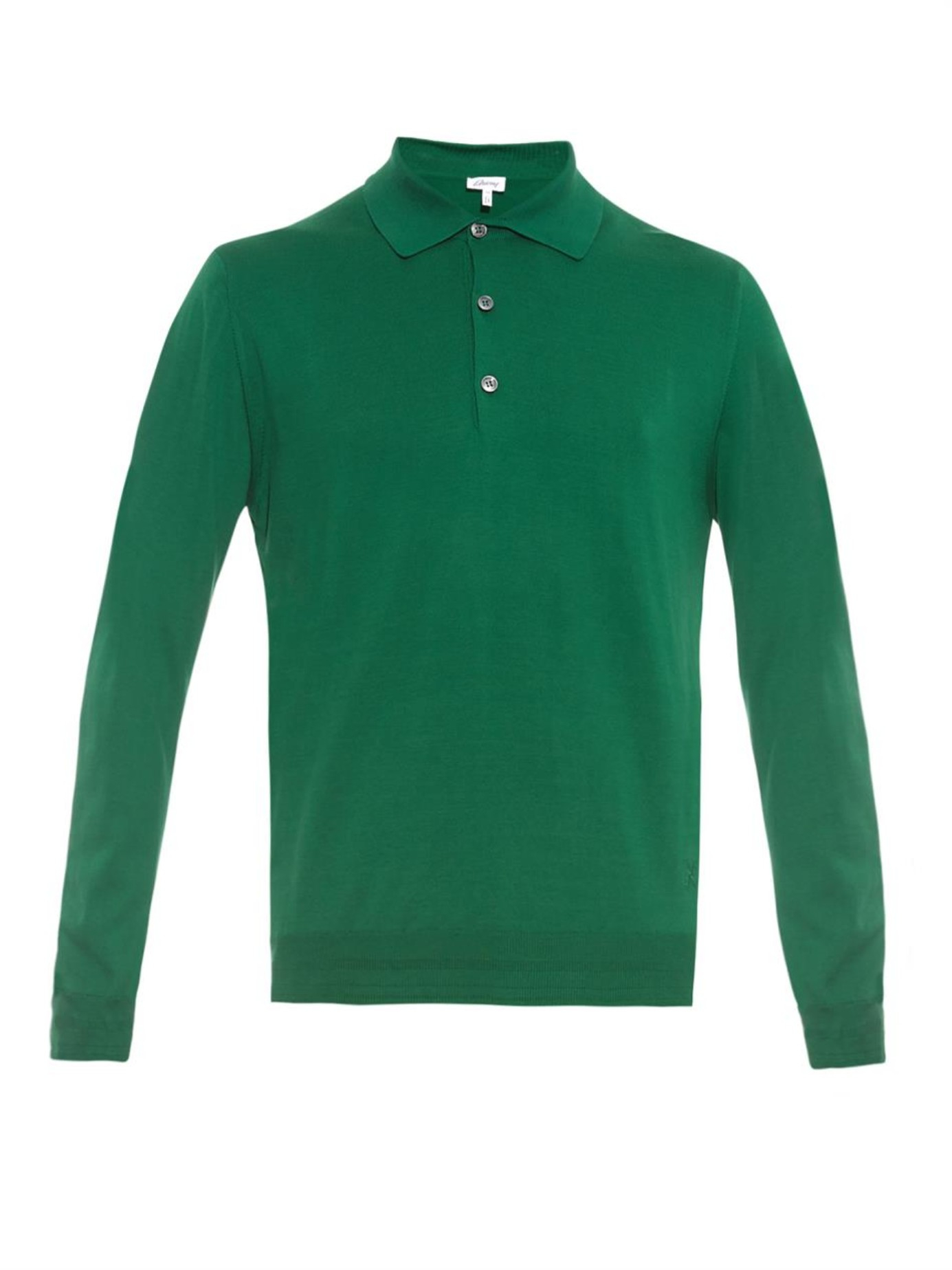 Vivienne Westwood T Shirt Brioni Long Sleeved Cotton Polo Shirt In Green For Men Lyst