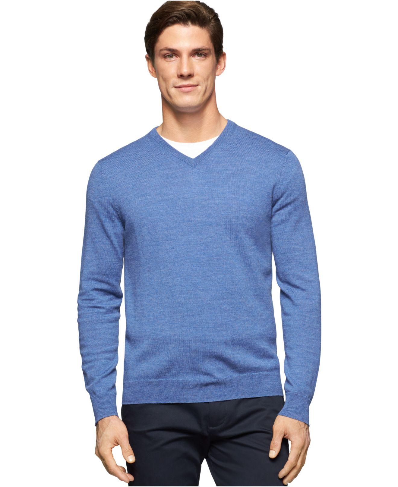 calvin klein merino wool v neck sweater in blue for men lyst. Black Bedroom Furniture Sets. Home Design Ideas