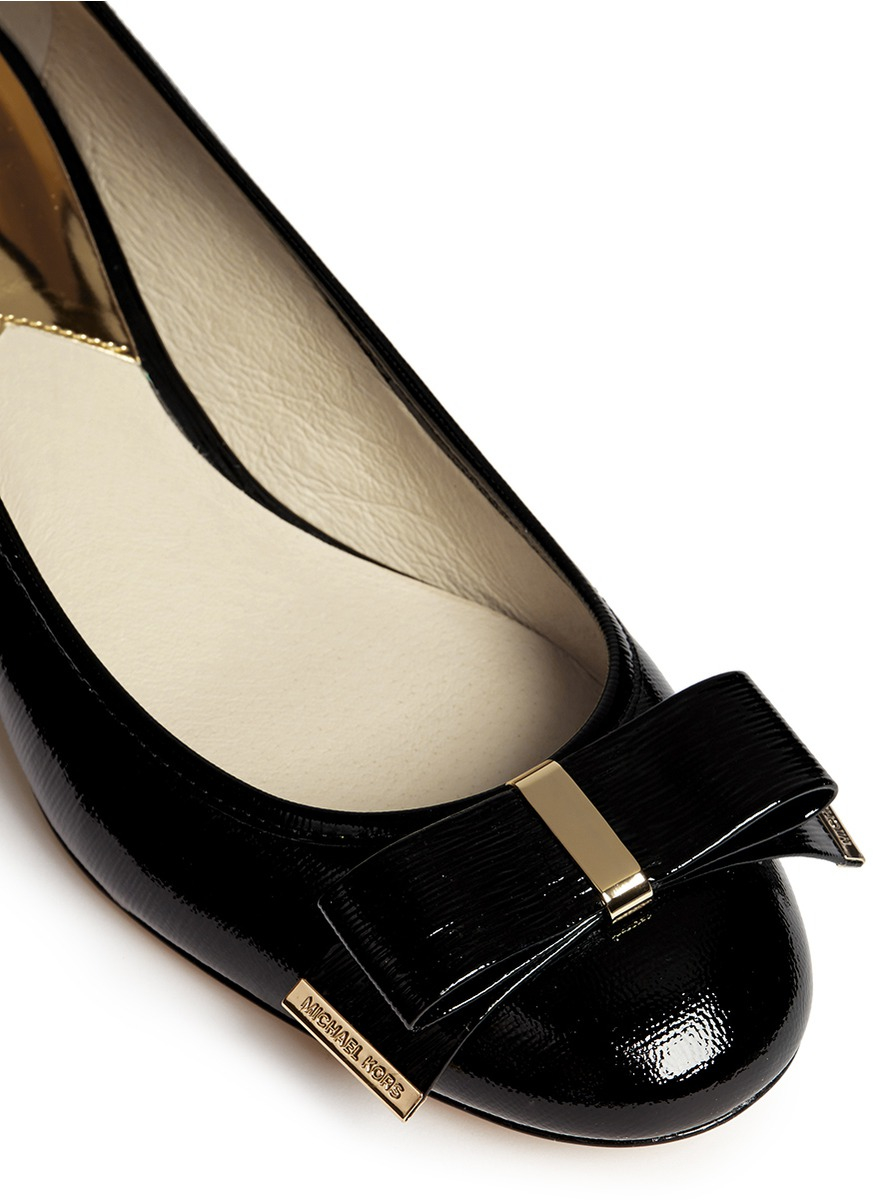 Michael Kors Kiera Bow Textured Patent Leather Pumps In