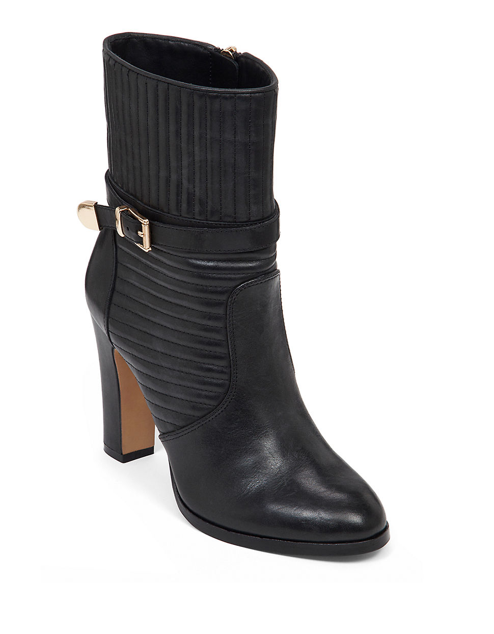 vince camuto curtis leather booties in black lyst