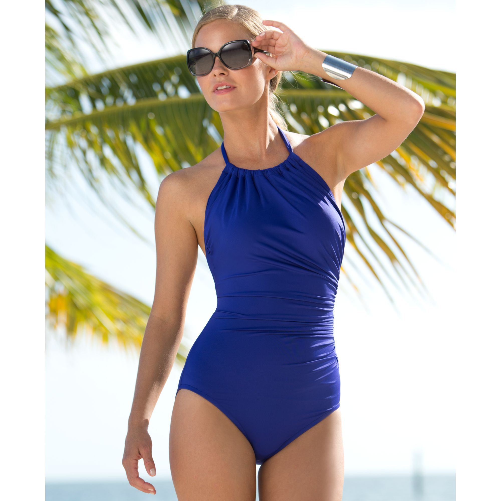 846e03492add5 Badgley Mischka Ruched Highneck Onepiece Swimsuit in Blue - Lyst