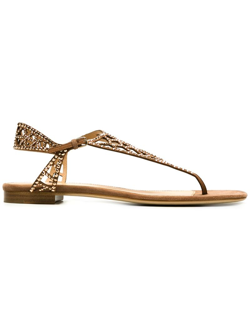 0e9a896d9b666 Lyst - Sergio Rossi Cut-out Embellished Flat Sandals in Brown