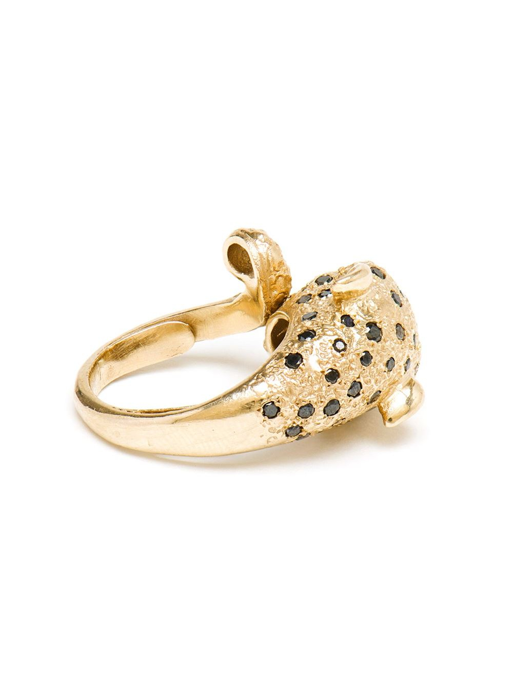 Yvonne Léon 18Kt Gold And Black Diamond Leopard Ring in Green