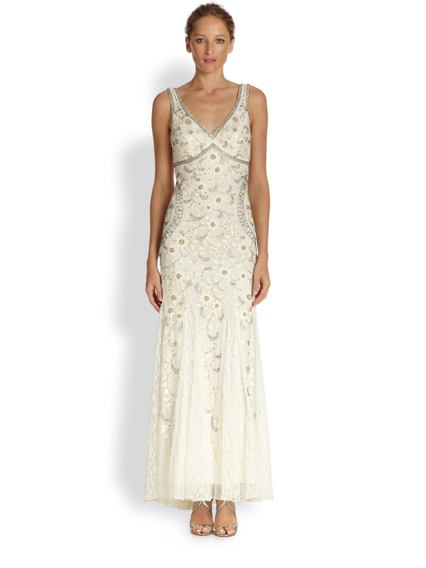 Lyst - Sue Wong Beaded & Floral Embroidered Tulle Gown in White