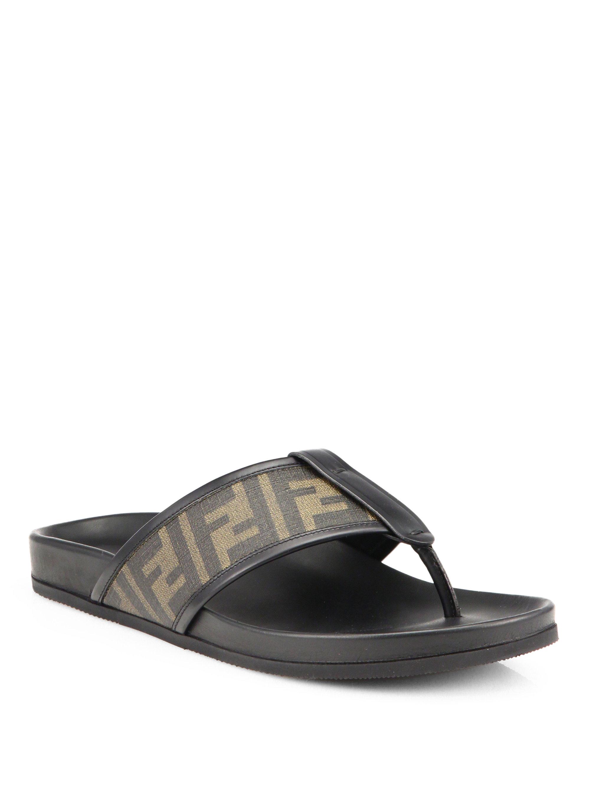 Lyst Fendi Zucca Logo Thong Sandals In Brown For Men