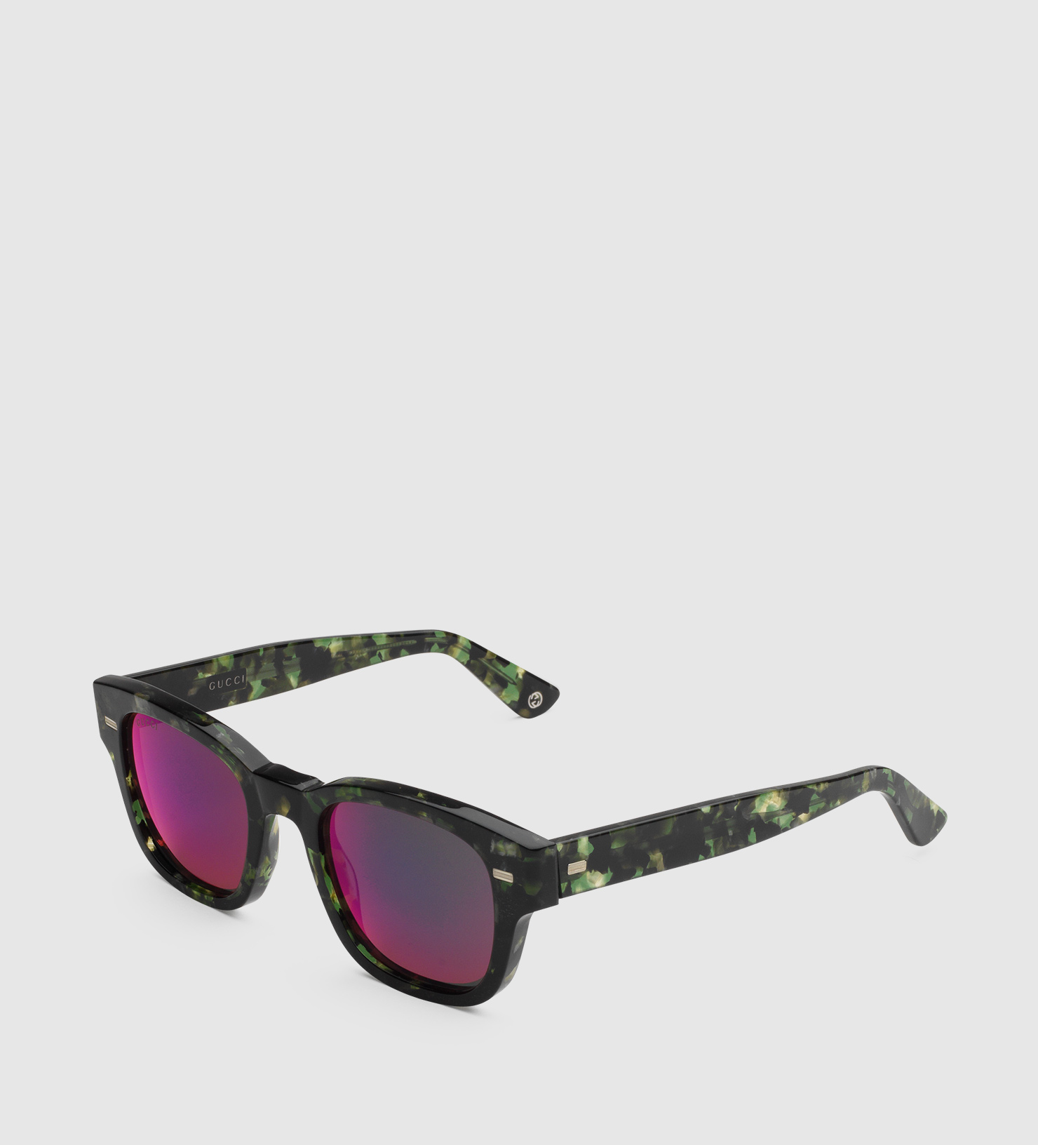 Gucci Havana Acetate Round-frame Sunglasses in Black for ...