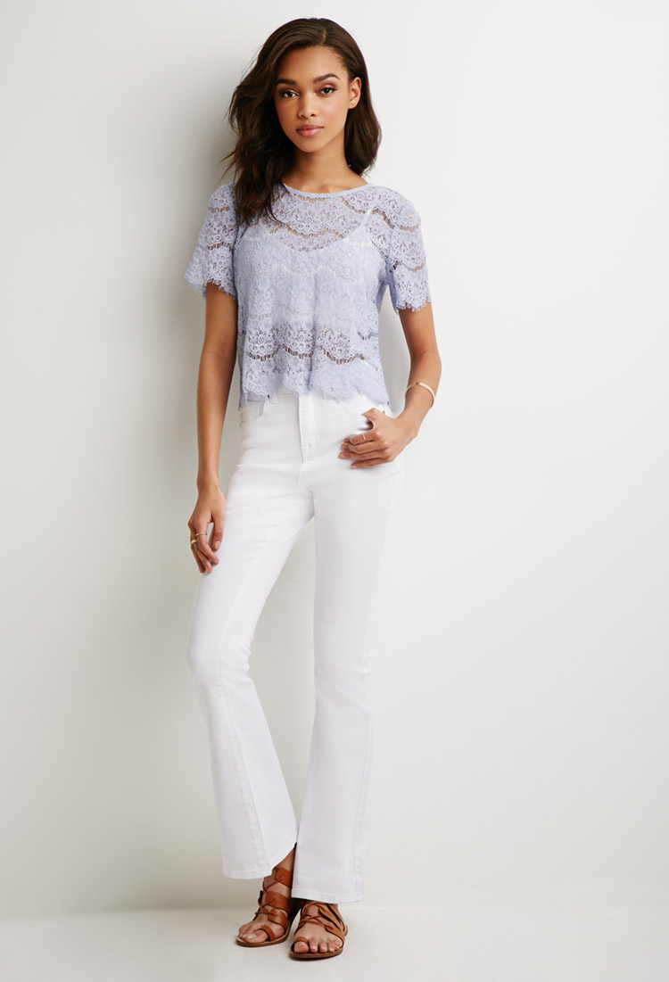 Forever 21 High-waisted Flared Jeans in White | Lyst