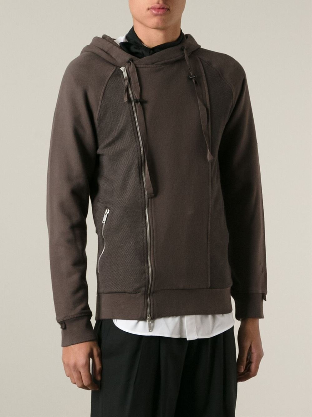alexander mcqueen piqu panel hoodie in brown for men lyst. Black Bedroom Furniture Sets. Home Design Ideas