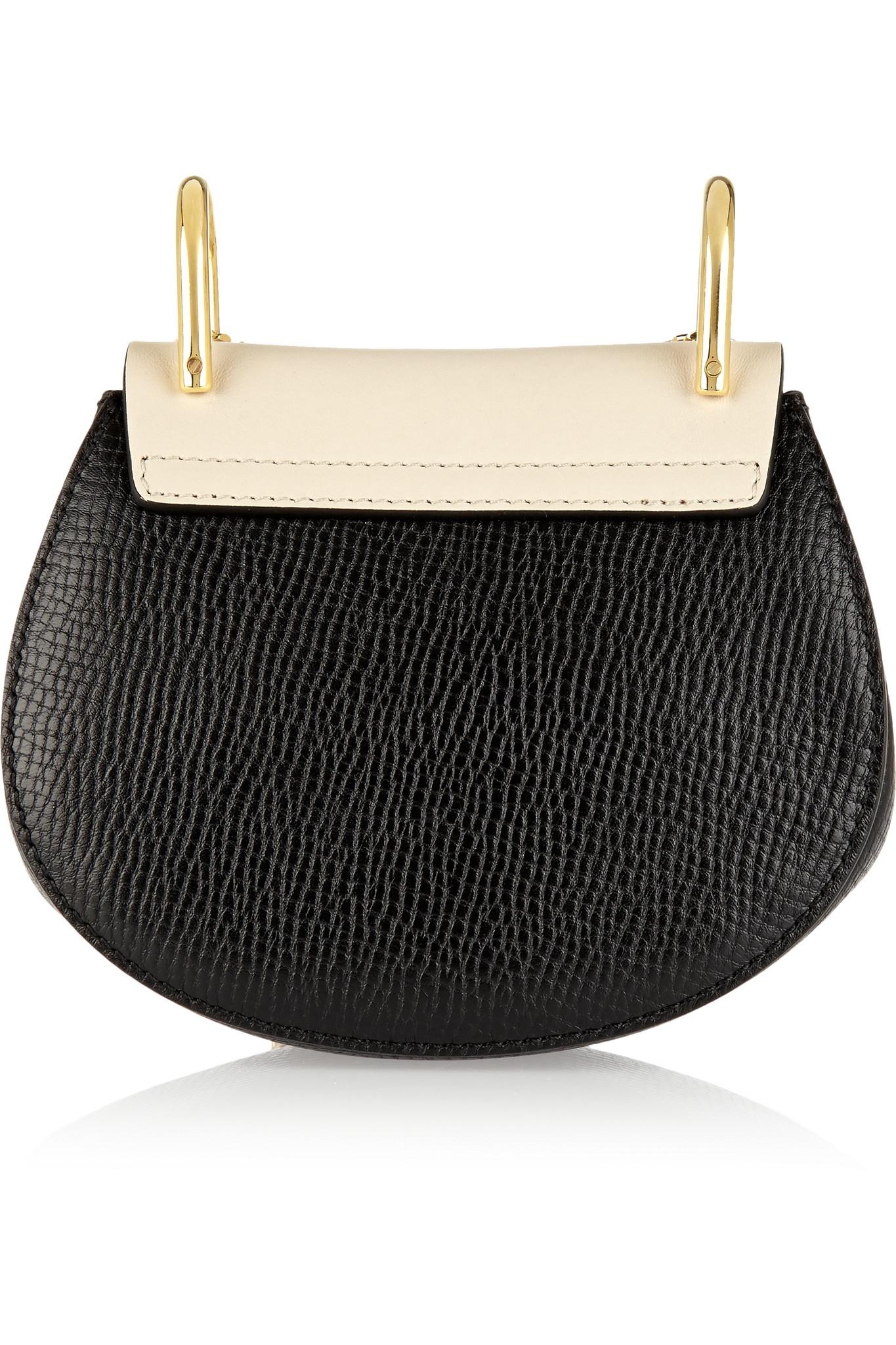 chloe drew nano black textured leather bag