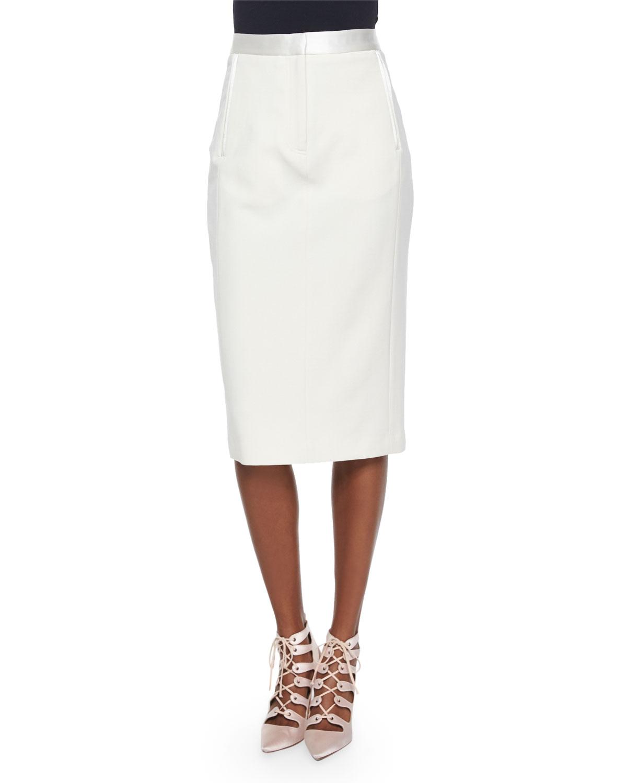 adam lippes satin trimmed midi pencil skirt in white lyst
