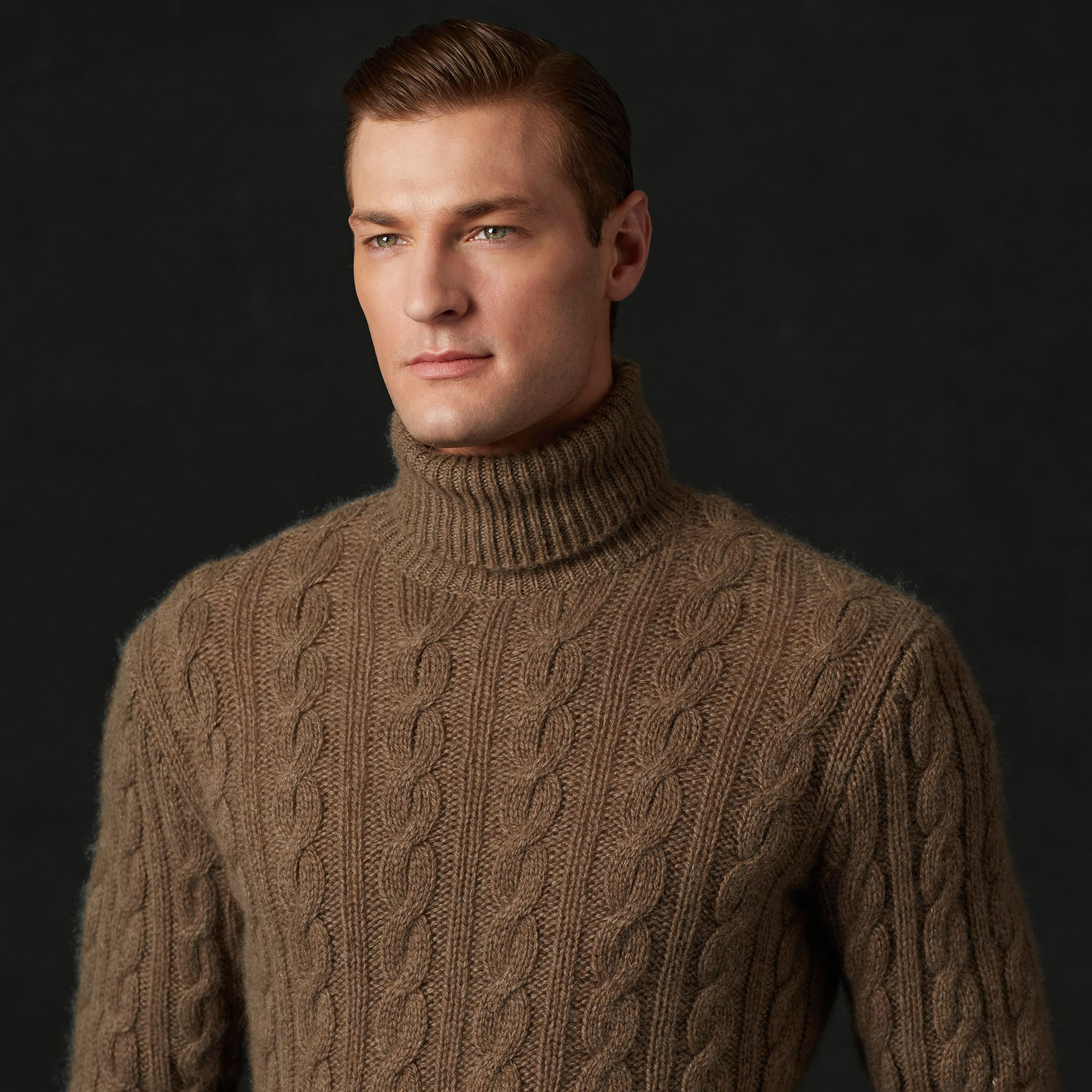 Ralph Lauren Purple Label Cable Knit Cashmere Sweater In