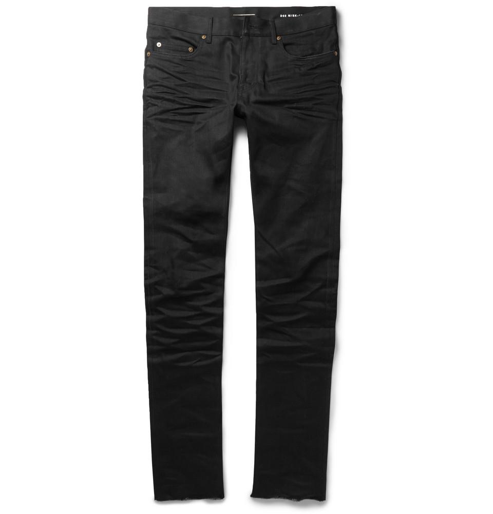 f27be7fbf12 Saint Laurent Slim-Fit 15.5Cm Raw-Hem Denim Jeans in Black for Men ...