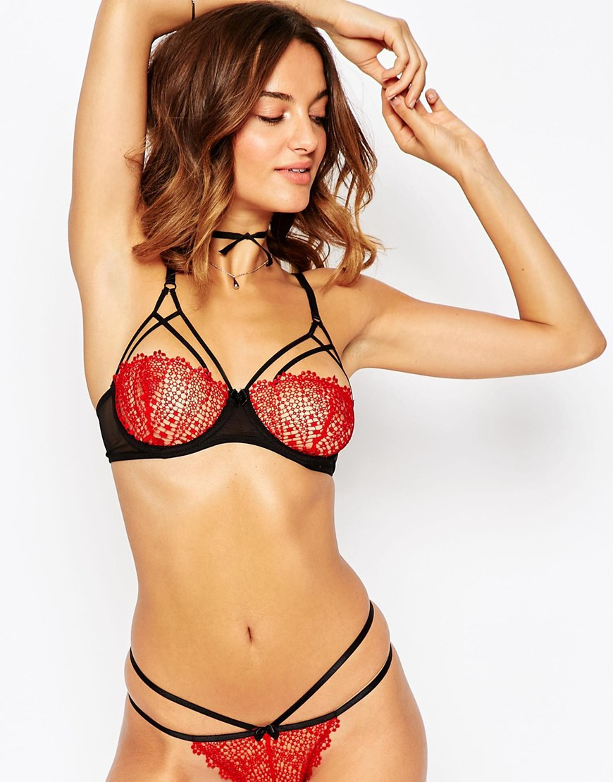 05315cf4a9 Lyst - ASOS Miri Corded Lace Strappy Underwire Bra in Red