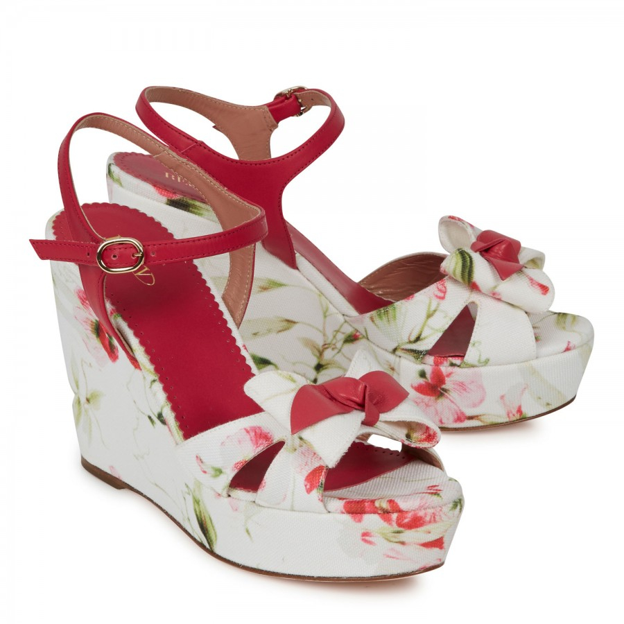 Red Valentino Floral Canvas Wedge Sandals In Pink Lyst