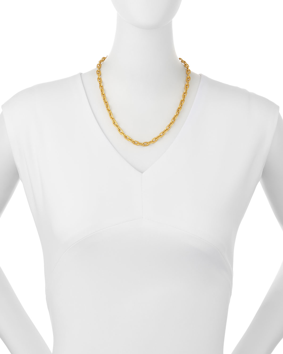 dina mackney tight link chain necklace in metallic lyst