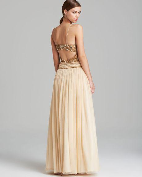 Aidan Mattox Gold Sequin Dress Gold Aidan Mattox Gown