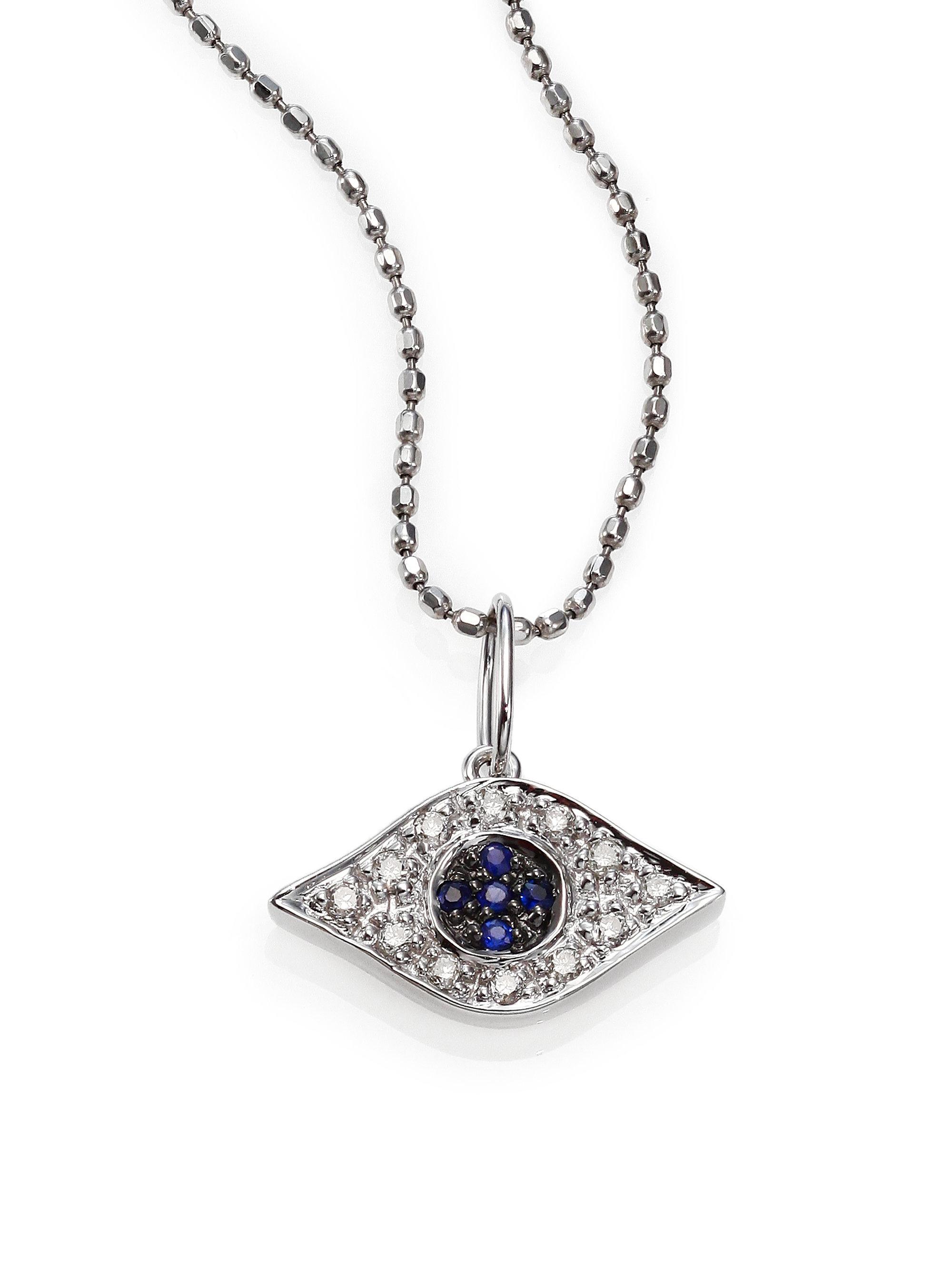 sydney evan diamond sapphire 14k white gold small evil. Black Bedroom Furniture Sets. Home Design Ideas