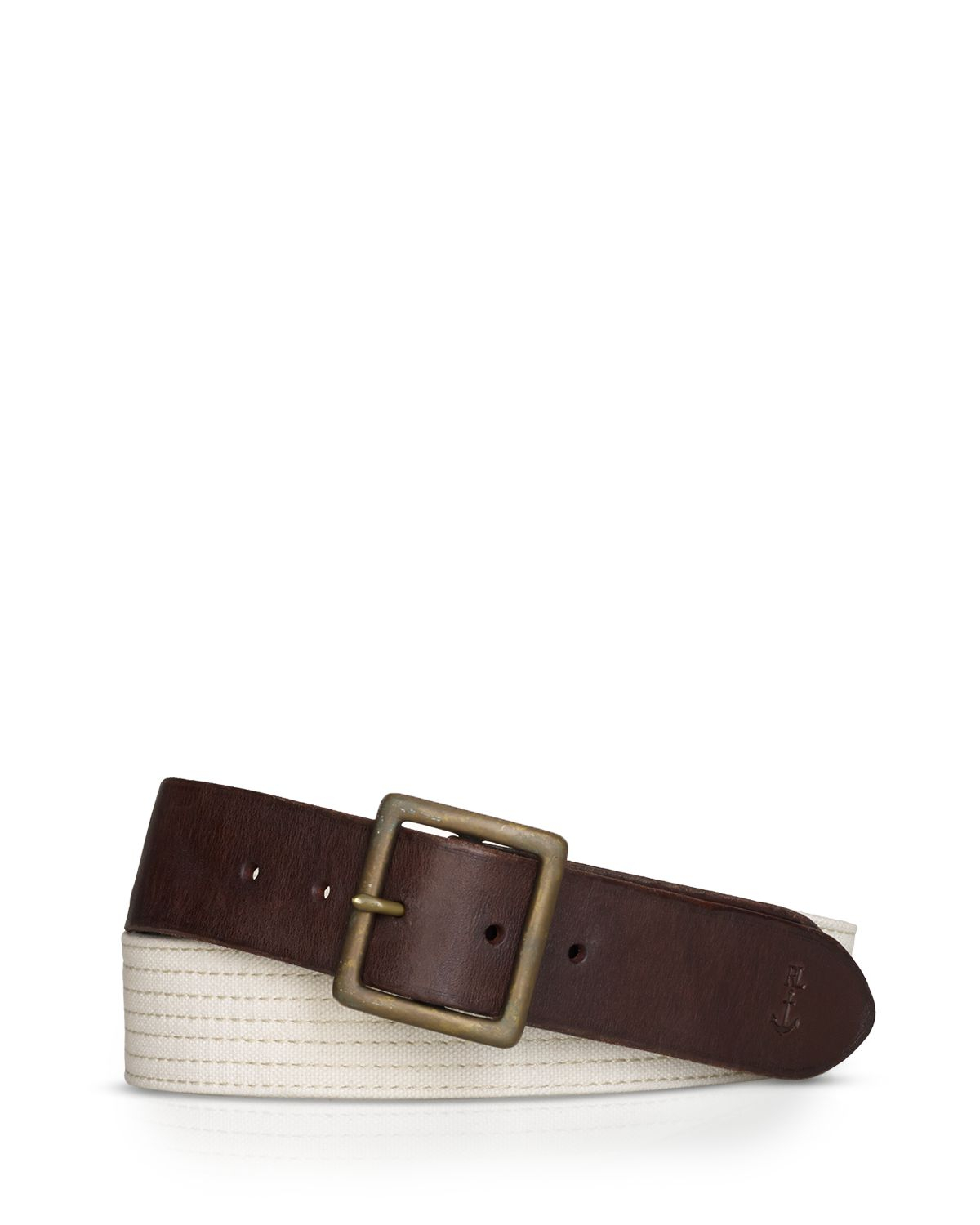 ralph stitched canvas belt in brown for lyst