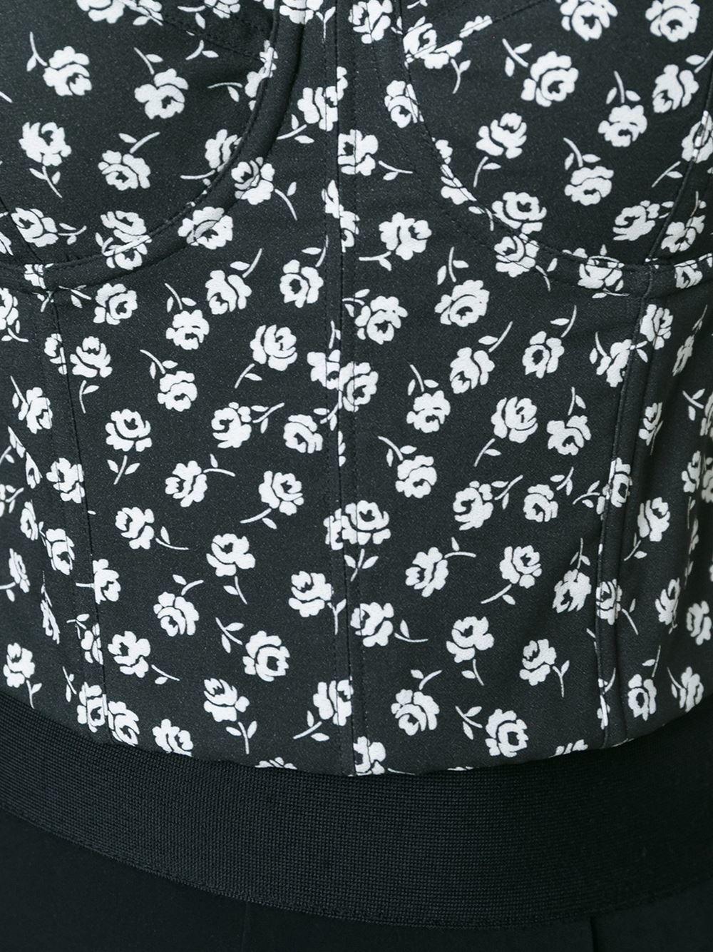 Dolce & Gabbana Floral Print Corset Top in Black