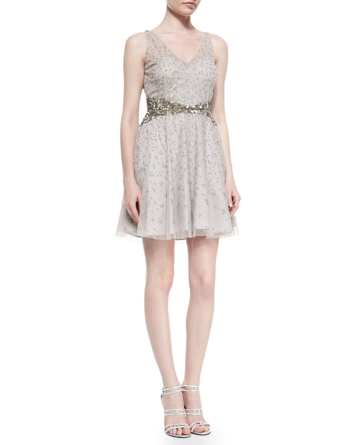Aidan Mattox Beaded Skater Dress In Metallic Lyst
