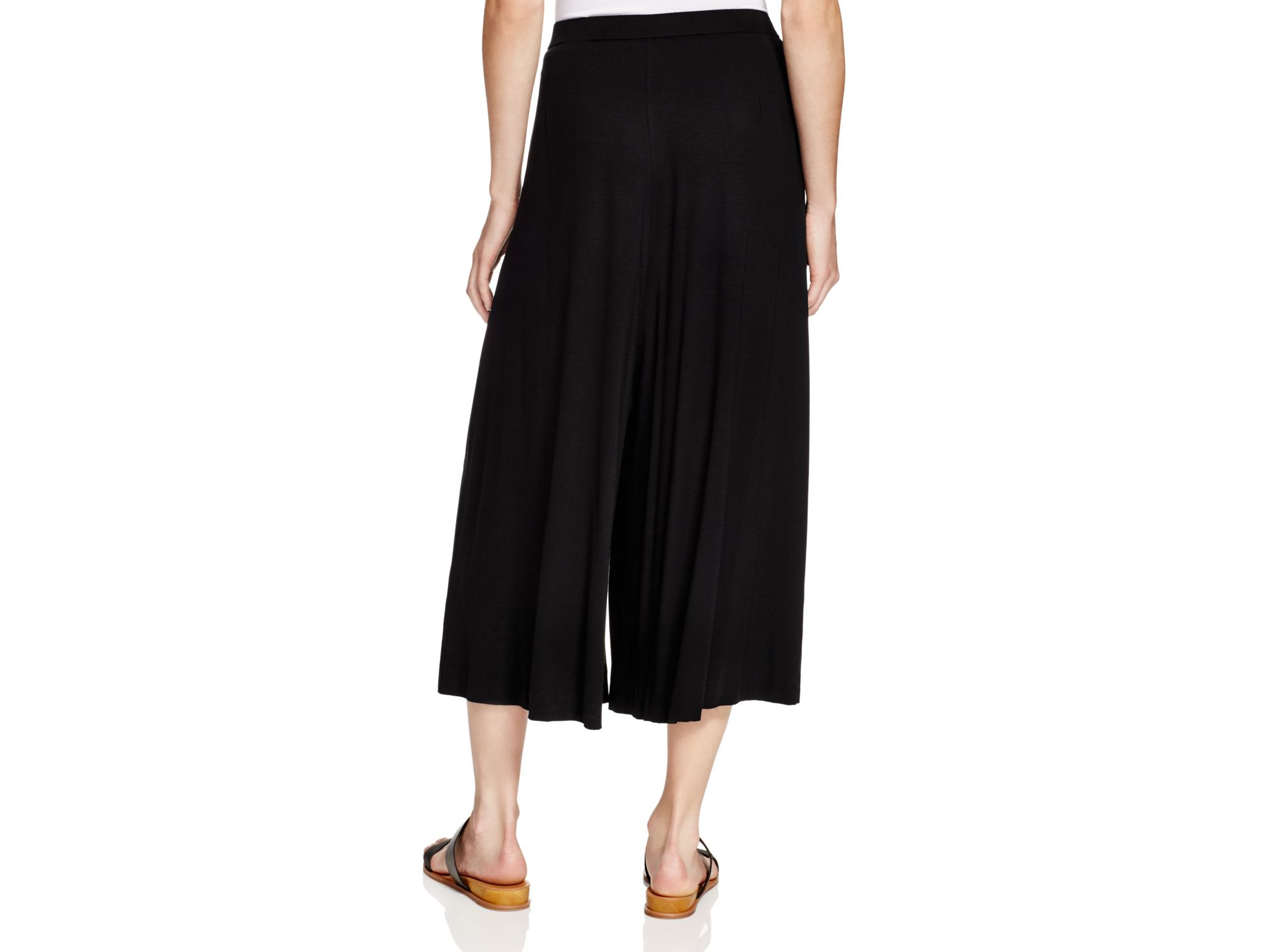 Eileen fisher Pleat Front Knit Gaucho Pants in Black | Lyst