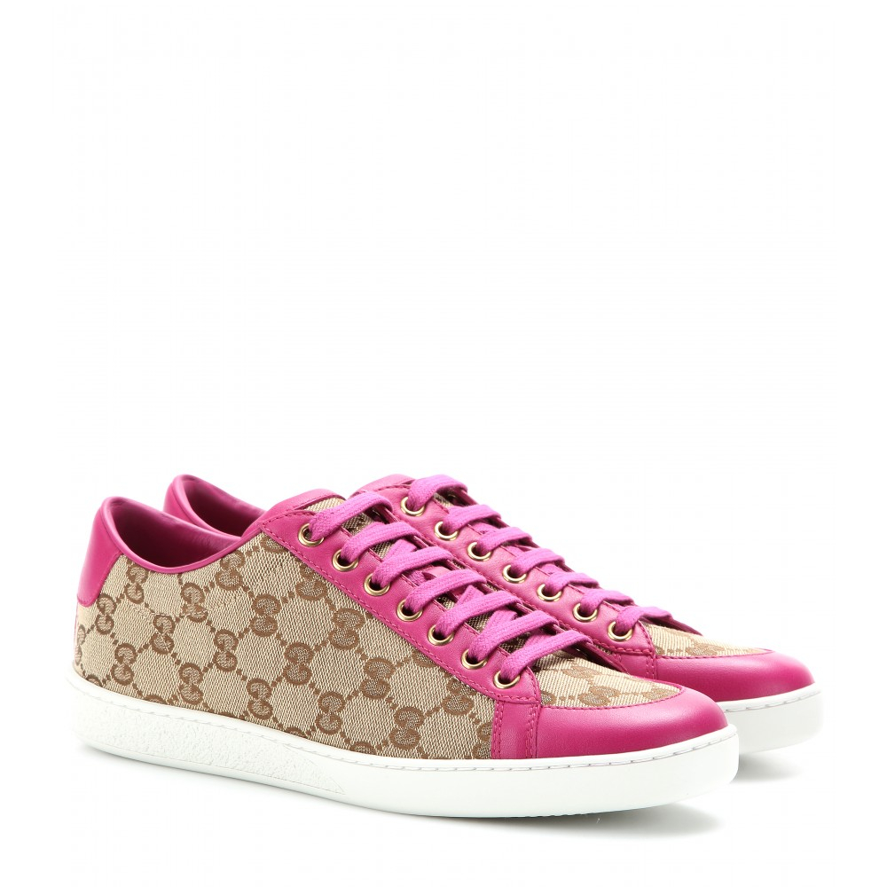 ba5695b4 Gucci Natural Brooklyn Canvas And Leather Sneakers