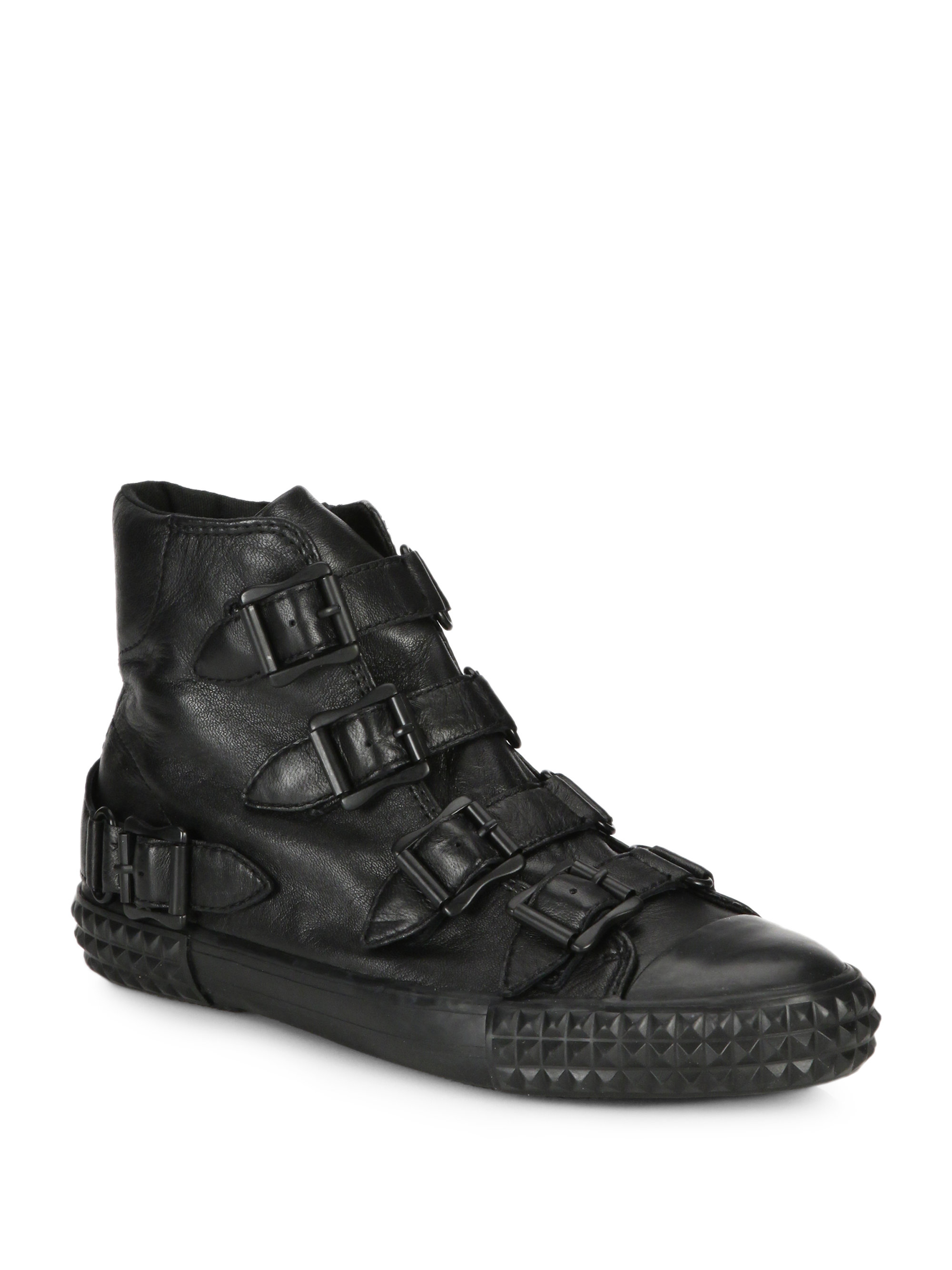 ash wonder buckled high top leather sneakers in black lyst. Black Bedroom Furniture Sets. Home Design Ideas