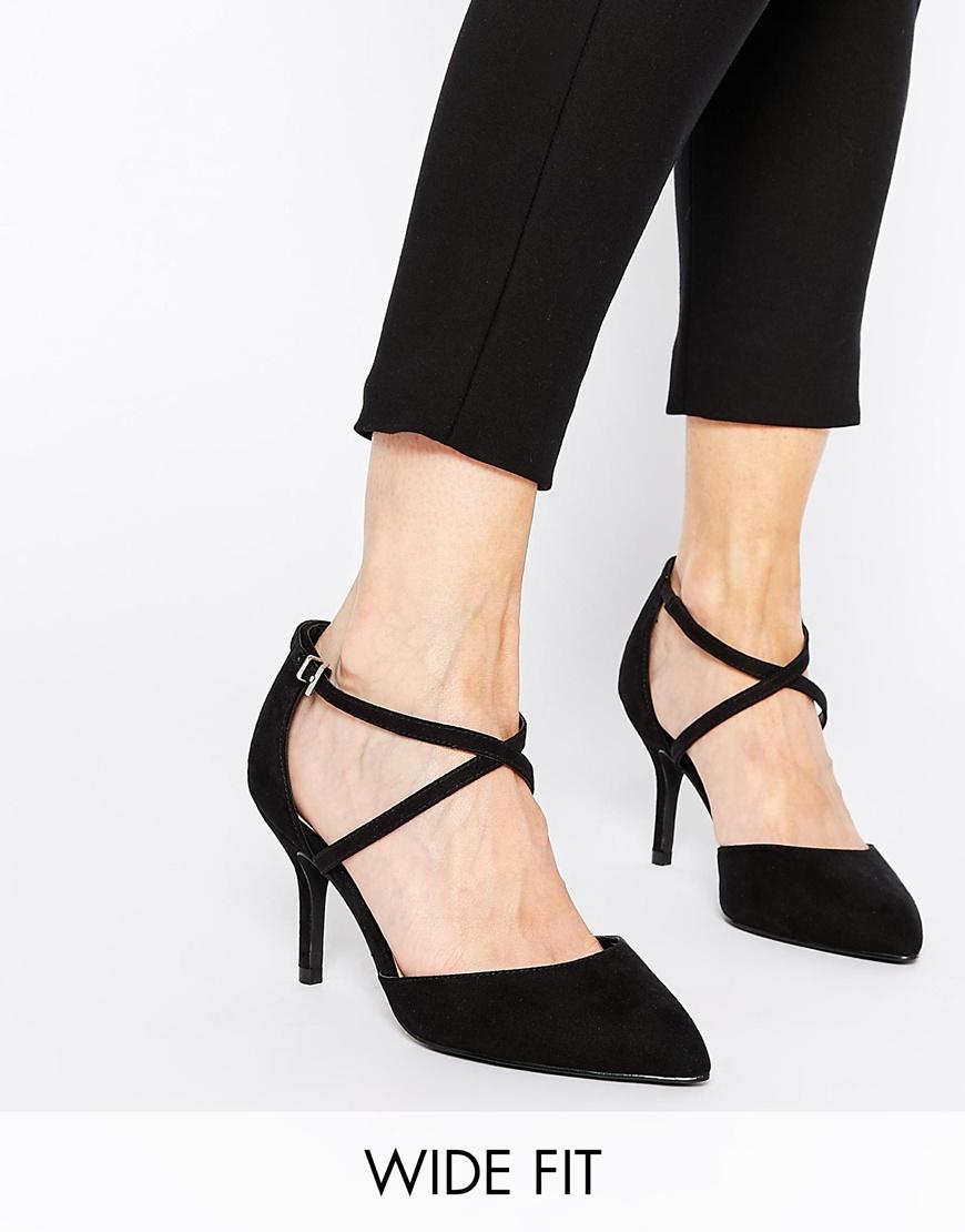 Asos Sally Wide Fit Pointed Heels in Black | Lyst