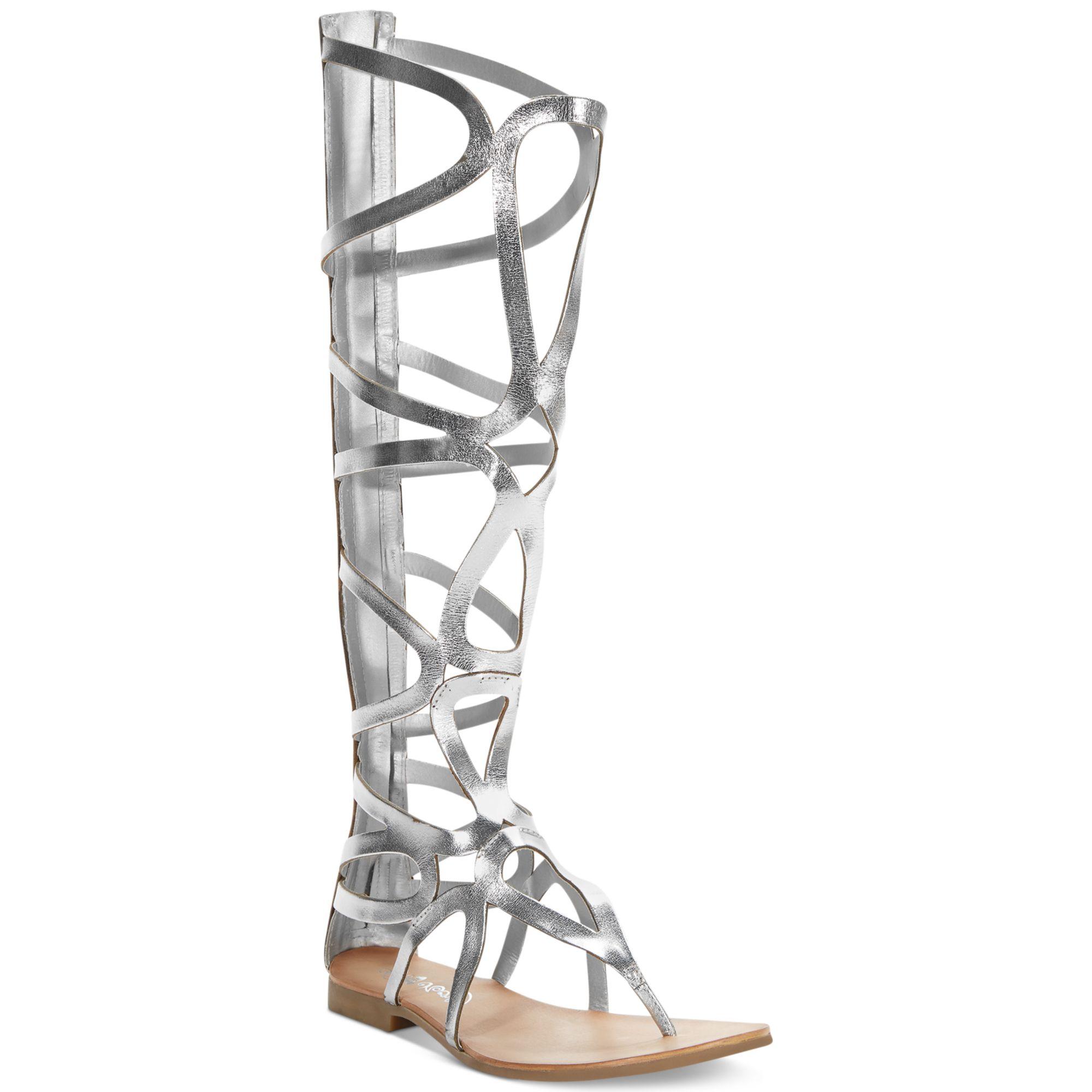 fdeeaaf526f Lyst - Naughty Monkey Spartacus Tall Shaft Gladiator Sandals in Metallic