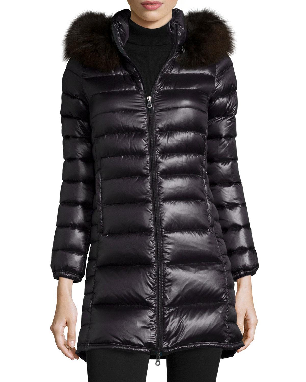 sports shoes 54def caa8a Duvetica Black Ociroe Long Puffer Coat With Fur Hood