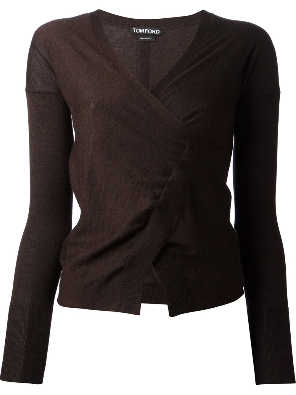 Tom ford Wrap Cardigan in Brown | Lyst