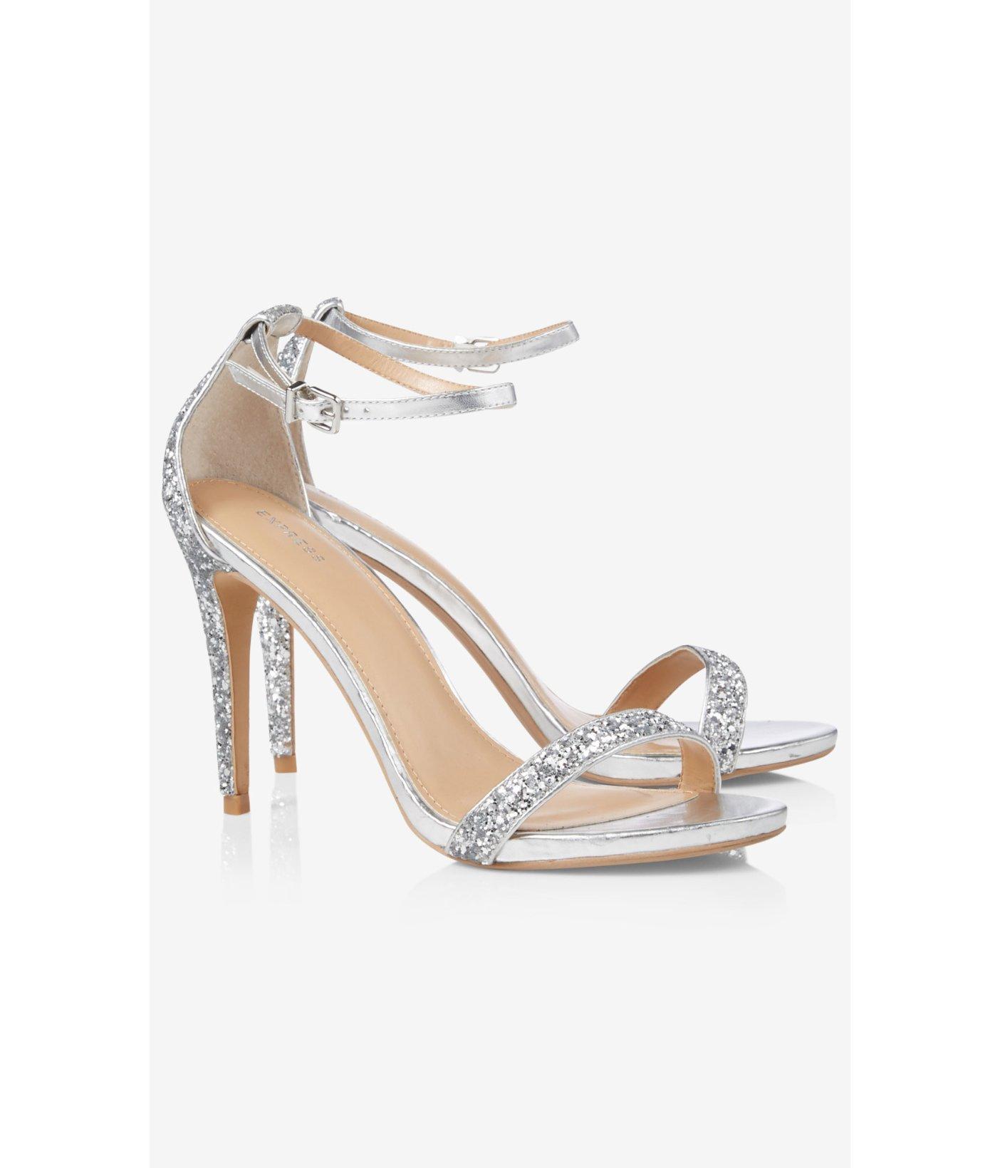 Express Silver Glitter Sleek Heeled