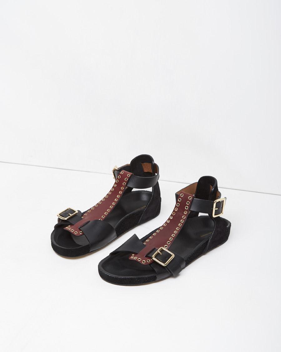 Isabel Marant Layne Eyelet Leather Sandals In Purple Lyst