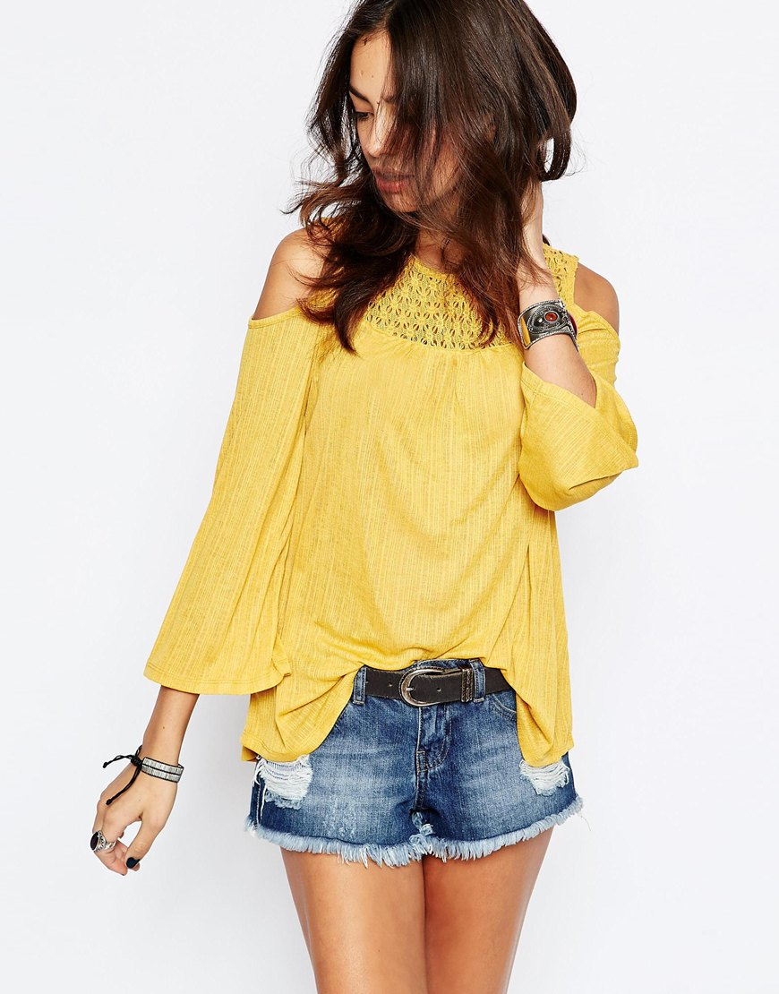 Only Cold Shoulder Crochet Top in Yellow