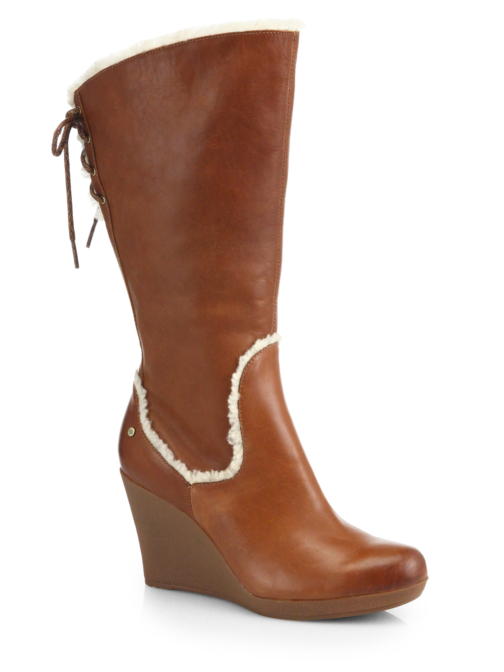 Lyst Ugg Emilie Leather Mid Calf Wedge Boots In Brown