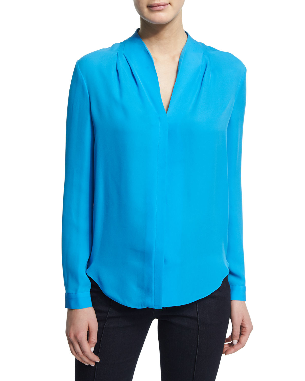 White silk v neck long sleeved blouse smart casual blouse for Silk long sleeve shirt