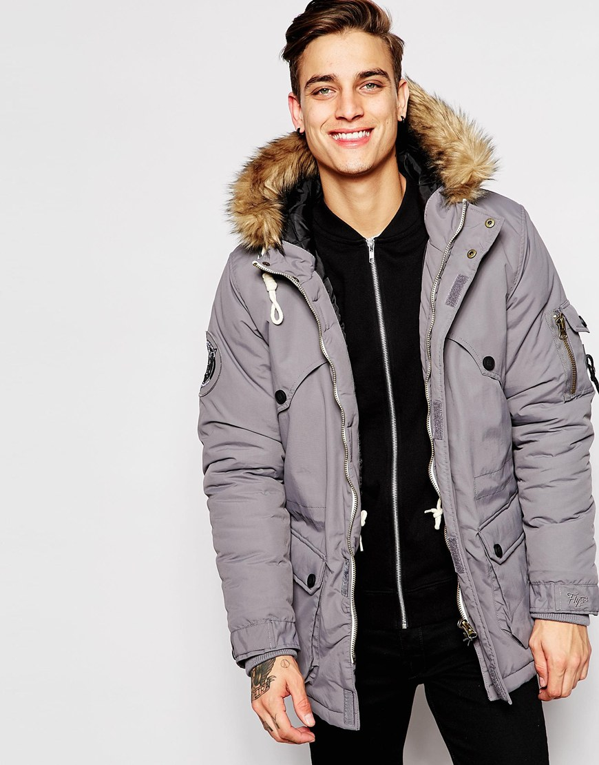 Fly 53 Parka Coat in Gray for Men | Lyst