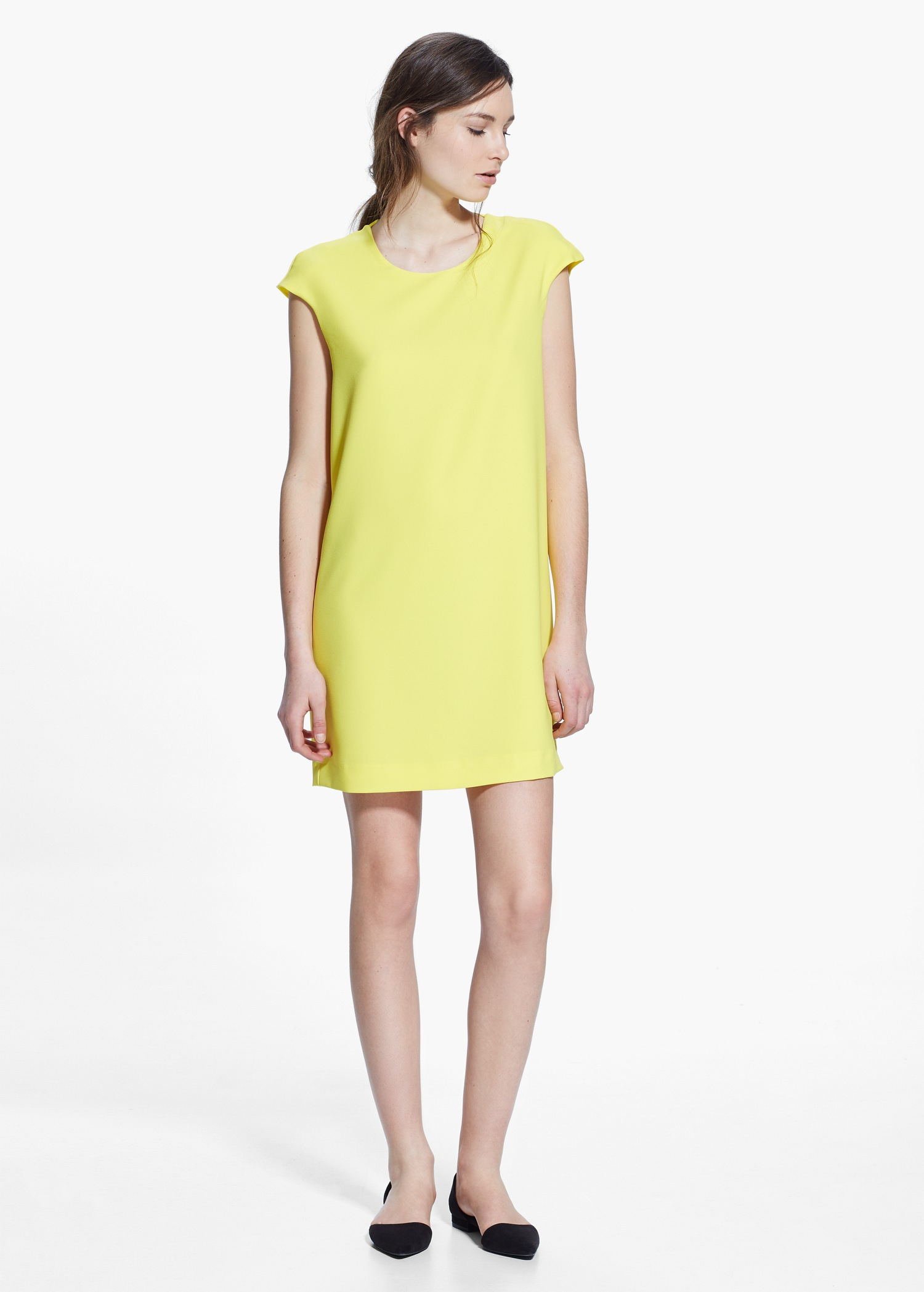 Lyst Mango Cut Out Back Dress In Yellow
