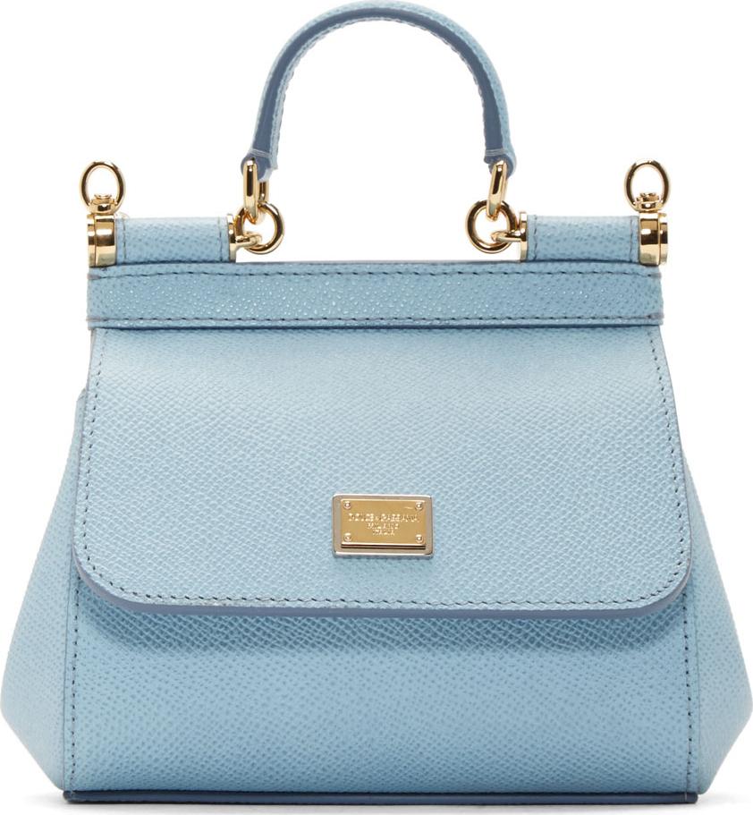 a46b6bfc732 Dolce & Gabbana Blue Leather Miss Sicily Mini Shoulder Bag in Blue - Lyst