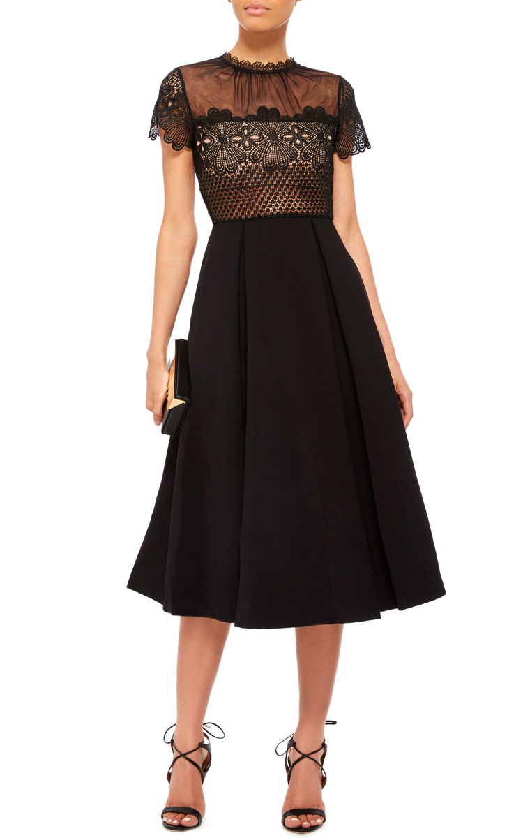 Self Portrait Felicia Embroidered Sheer Lace Dress In