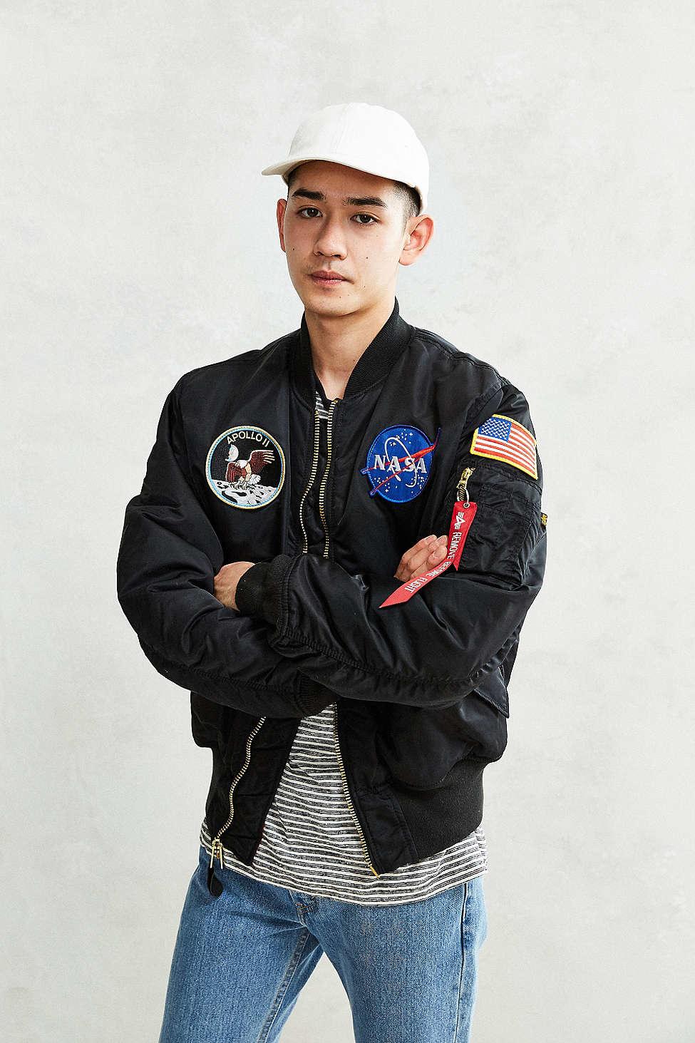 Alpha Industries Nasa Ma 1 Bomber Jacket In Black For Men