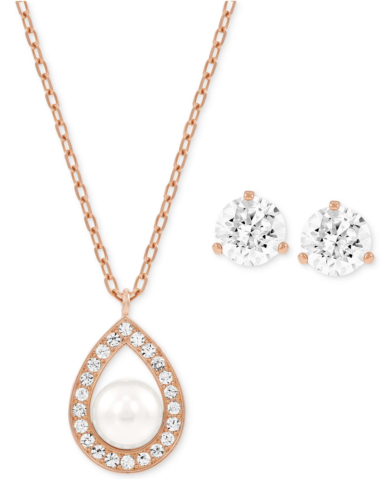 Rose Gold Tone Crystal Pearl Pendant Necklace And Stud Earring Set