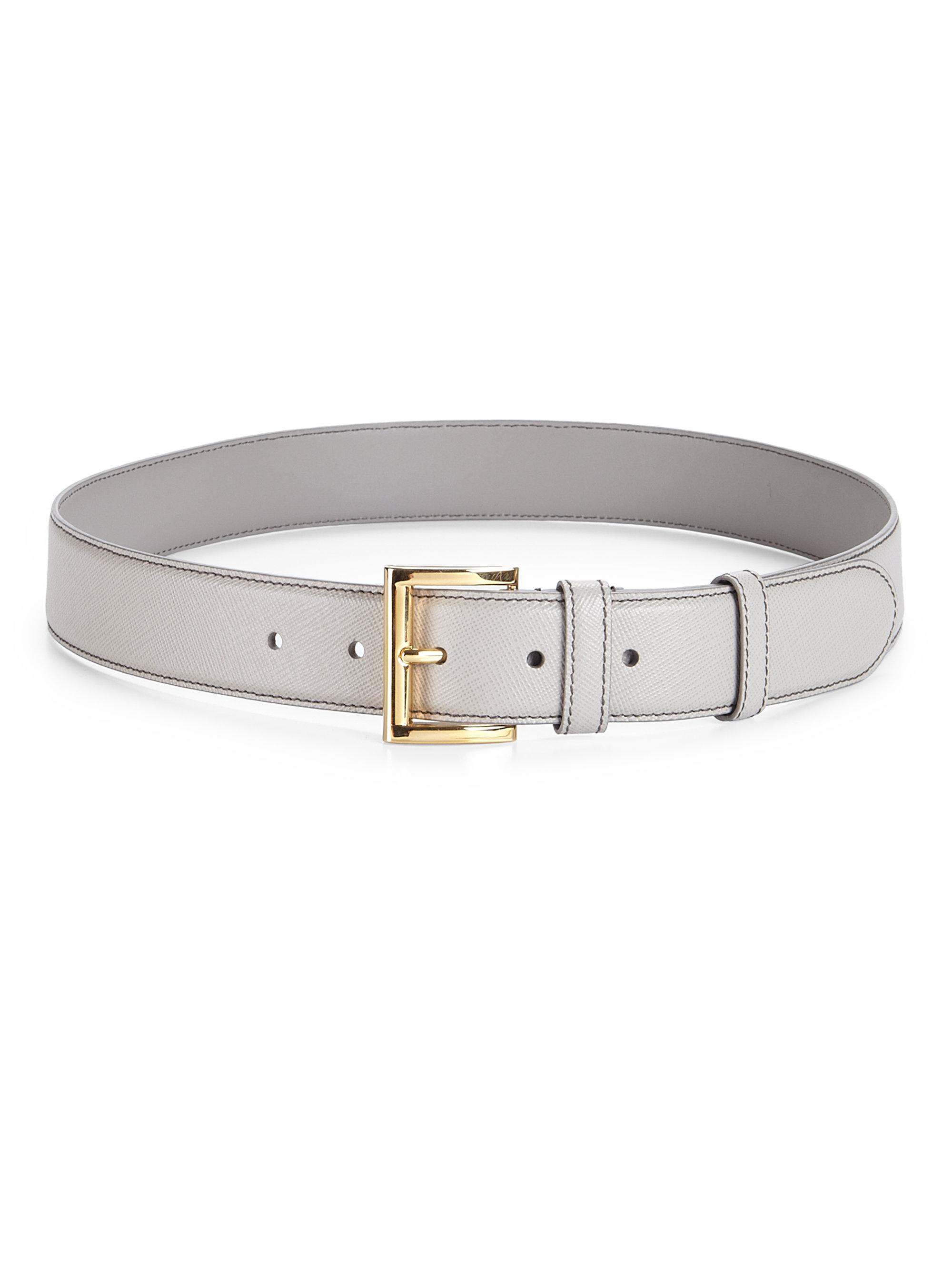 Prada Saffiano Leather Belt In Natural