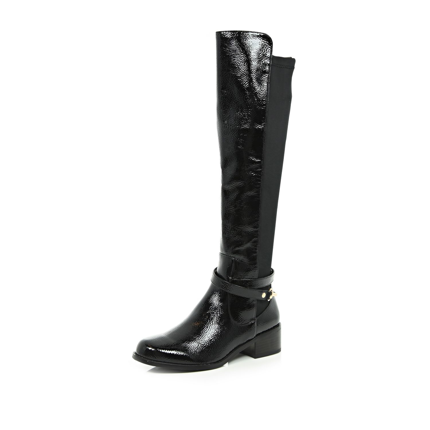 f90b909c398 River Island Black Patent Over The Knee Boots in Black - Lyst