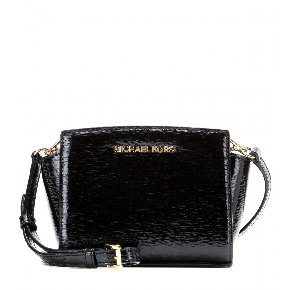 michael michael kors selma mini messenger patent leather shoulder bag in black lyst. Black Bedroom Furniture Sets. Home Design Ideas