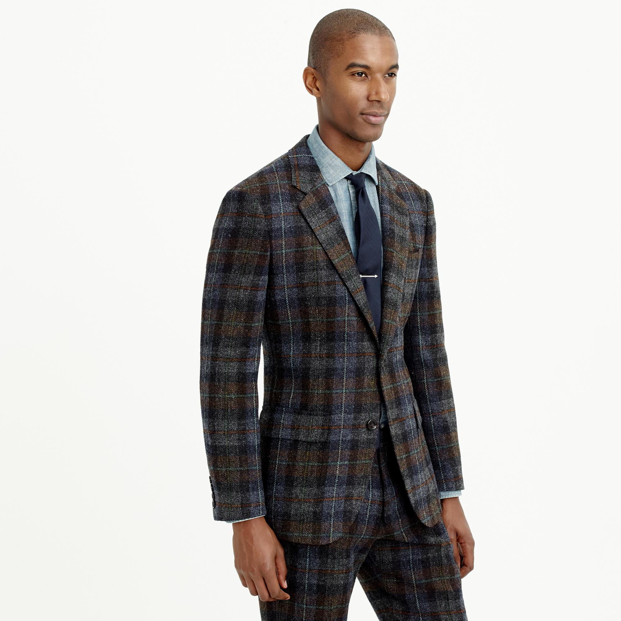 Crew Ludlow Suit Jacket In Herringbone Italian Linen Silk