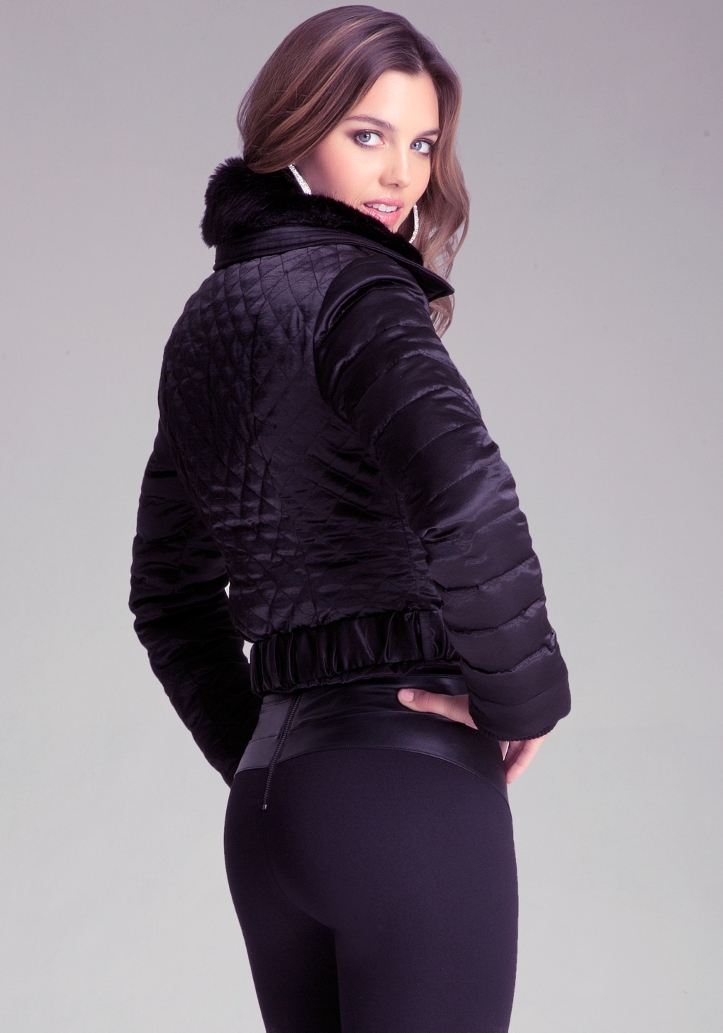Lyst Bebe Quilted Bomber Jacket In Black